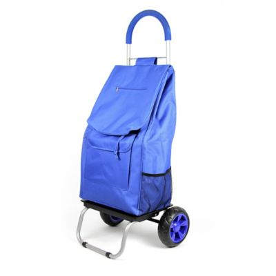 folding trolley dolly cart in blue - Laundry Carts