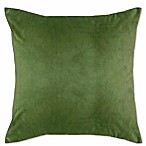 Solid Knit Velvet Square Throw Pillow in Green