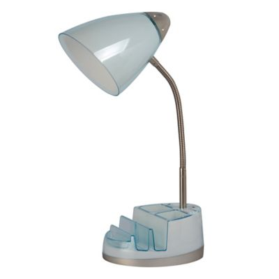 Equip Your E Cfl Tablet Organizer Outlet Usb Desk Lamp In Spa Blue