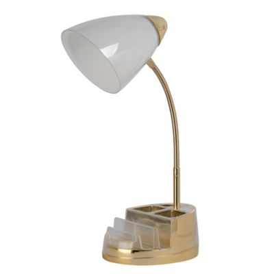 Equip Your Space Tablet Organizer Outlet USB Desk Lamp In Gold