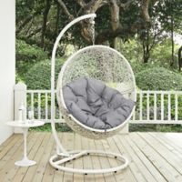 Modway Hide Patio Stand-Alone Swing Chair in White/Grey