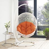 Modway Hide Patio Stand-Alone Swing Chair in White/Orange