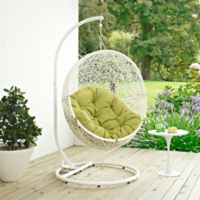 Modway Hide Patio Stand-Alone Swing Chair in White/Peridot