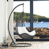 Modway Abate Patio Stand-Alone Swing Chair in Grey/White