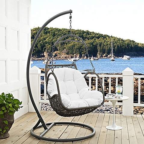 Buy modway arbor patio stand alone swing chair in white for White porch swing with stand