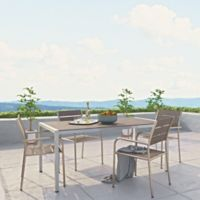 Modway Shore Aluminum 5-Piece Outdoor Dining Set in Silver/Grey