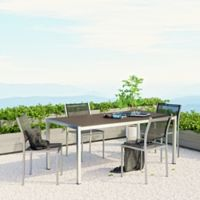 Modway Shore Aluminum 5-Piece Mesh Outdoor Dining Set in Silver/Black