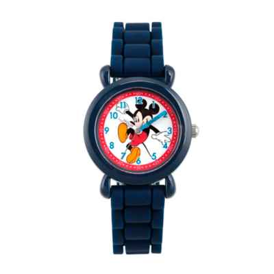 Disney® Mickey Mouse Children's Time Teacher Watch in Blue Plastic with Blue Silicone Strap