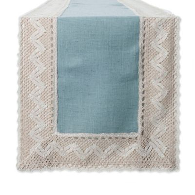 Crochet Lace 36 Inch Table Runner In Blue