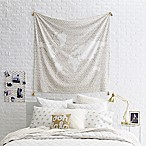 Glam Map Tapestry Throw Blanket in White/Gold