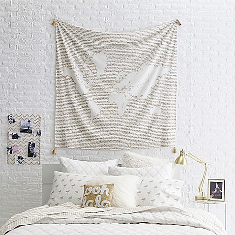 Glam Map Tapestry Throw Blanket In Whitegold Bed Bath Beyond