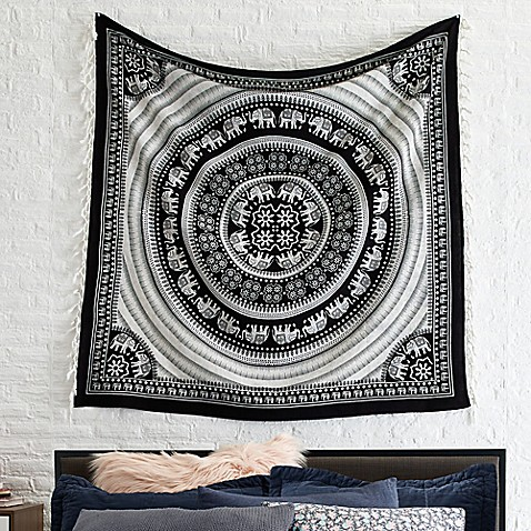 Courtside Market Elephant Tapestry Throw Blanket in Black/White