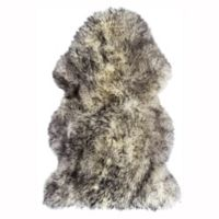 Natural 100% New Zealand Sheepskin 2-Foot x 3-Foot Accent Rug in Grey/White