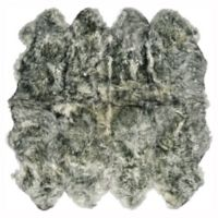 Natural 100% New Zealand Sheepskin 6-Foot 6-Inch x 6-Foot Area Rug in Grey/White