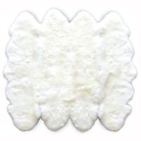 Natural 100% New Zealand Sheepskin 6-Foot 6-Inch x 6-Foot Area Rug in White