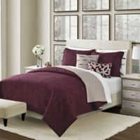 Camber Reversible Twin Quilt Set in Wine