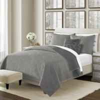Camber Reversible Twin Quilt Set in Grey