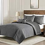 Washed Reversible King Quilt Set in Dark Grey