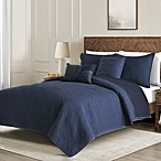 Washed Reversible Full/Queen Quilt Set in Indigo