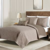 Washed Reversible Twin Quilt Set in Taupe