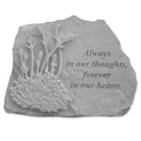 """Always in Our Thoughts"" Memorial Stone with Lavender Memorial Stone in Grey"