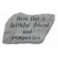 """Here Lies a Faithful Friend"" Pet Memorial Stone in Grey"
