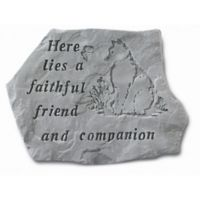 """Here Lies a Faithful Friend"" Pet Memorial Stone with Cat Carving in Grey"