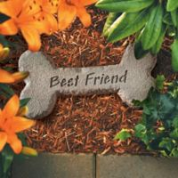 "Dog Bone ""Best Friend"" Pet Memorial Stone in Grey"