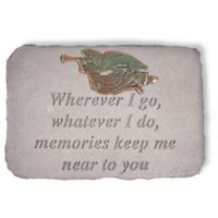 """Wherever I Go"" Garden Stone with Metal Angel Insert in Grey"