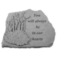 """You Will Always"" with Lavender Design Memorial Stone in Grey"