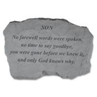 """Son, No Farewell Words"" Memorial Stone in Grey"
