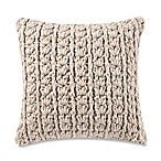 Kenneth Cole Mineral Yarn-Dyed Cable Knit Square Throw Pillow in Stone