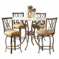 Hillsdale Furniture Brookside 5-Piece Counter Height Dining Set With Diamond Stools in Brown