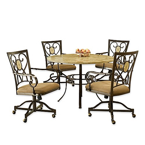 Delightful Hillsdale Furniture Brookside 5 Piece Round Dining Set With Oval Back  Caster Chairs In Brown