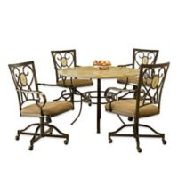 Hillsdale Furniture Brookside 5-Piece Round Dining Set With Oval Back Caster Chairs in Brown