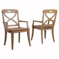 Panama Jack Millbrook X-Back Dining Arm Chairs in Sand (Set Of 2)