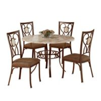 Hillsdale Furniture Brookside 5-Piece Round Dining Set With Oval Back Chairs in Brown