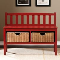 Southern Enterprises Storage Bench with Baskets in Red