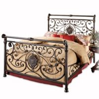 Hillsdale Mercer California King Bed Set with Rails in Antique Brown