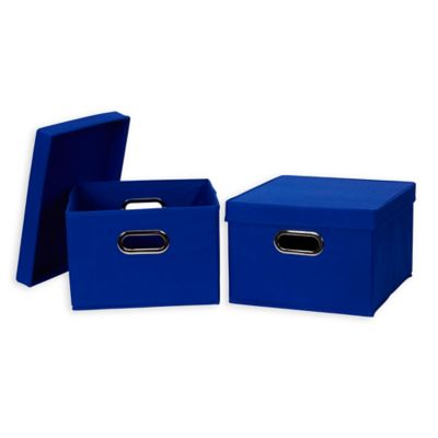 Nice Household Essentials® Collapsible Fabric Storage Boxes With Lids In Blue  (Set Of 2)