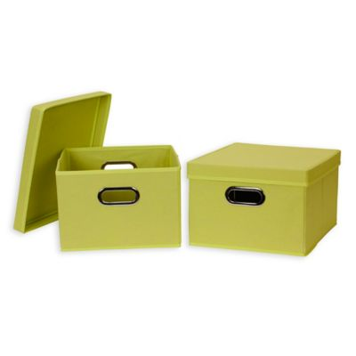 Household Essentials® Collapsible Fabric Storage Boxes With Lids In Green  (Set Of 2)