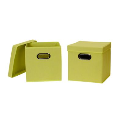 household essentials collapsible fabric storage bins with lids in green set of 2