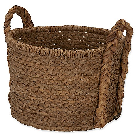 image of Household Essentials Large Wicker Floor Basket with Braided Handle