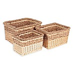 Household Essentials® 3-Piece Starling Wicker Storage Basket Set in Natural Brown