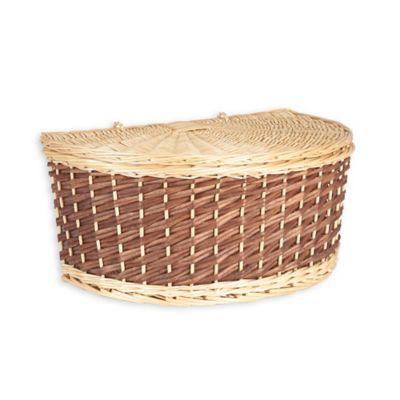 household essentials halfmoon wicker basket with lid in brown
