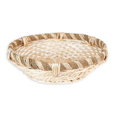 household essentials large round decorative wicker basket in natural brown - Decorative Baskets