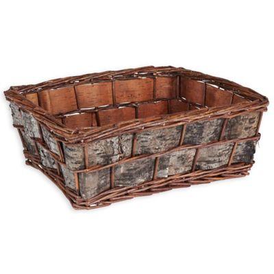 Household Essentials® Birch Bark Decorative Wicker Basket In Dark Brown