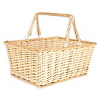 Household Essentials® Open Top Wicker Picnic Basket with Handles in Natural Brown