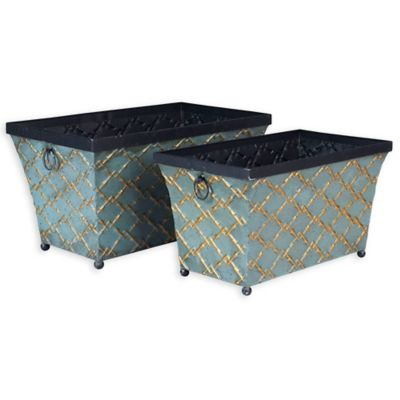 Household Essentials® Oval Vintage Metal Storage Containers In Teal (Set Of  2)