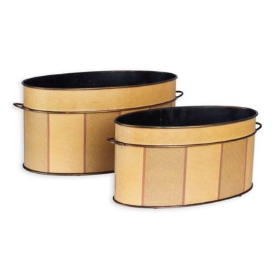 Household Essentials® Oval Vintage Metal Storage Containers In Yellow (Set  Of 2)